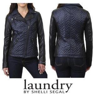 NWT LAUNDRY Quilted Faux Leather Motorcycle Jacket